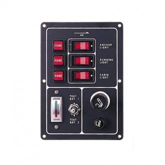 Panel 3 Interruptores con Test de Bateria
