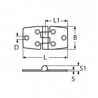 Bisagra inox 316 de 76x37
