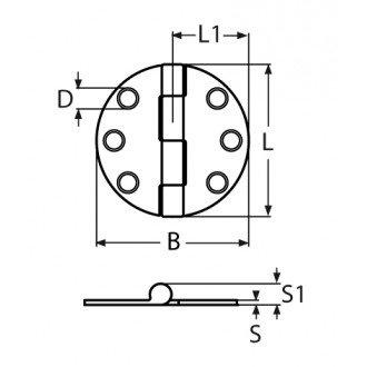 Bisagra inox 316 de 65X65