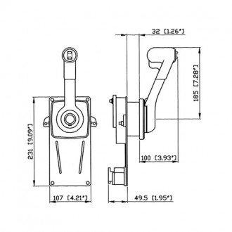 Mando de control lateral 1 palanca Ultraflex B183