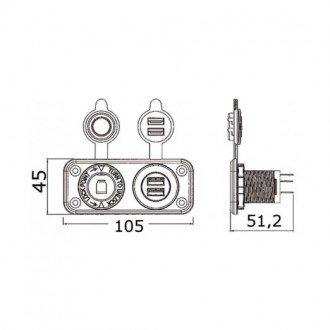 Panel con toma mechero y doble USB