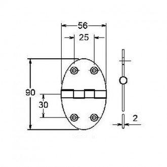 Bisagra Ovalada Inox 90x56mm