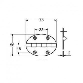 Bisagra Ovalada Inox 56x78mm