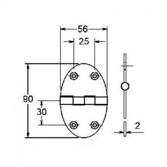 Bisagra Ovalada Inox 84x56mm