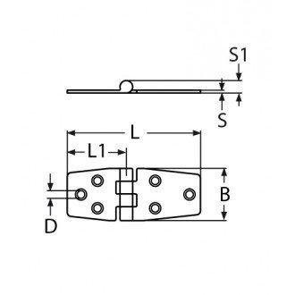 Bisagra inox 304 de 126x36