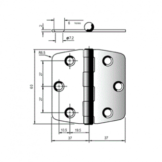Bisagra Cuadrada 75x75mm Inox 316