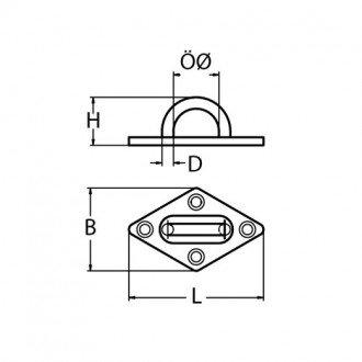 Pasacabos base romboidal